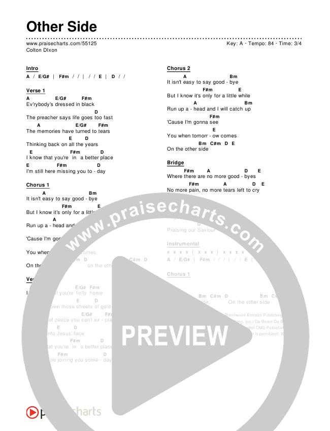 Other Side Chords - Colton Dixon | PraiseCharts