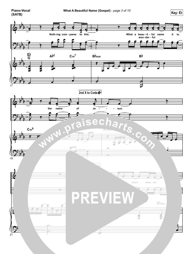 What A Beautiful Name (Gospel) Piano/Vocal (SATB) (Hillsong Worship)