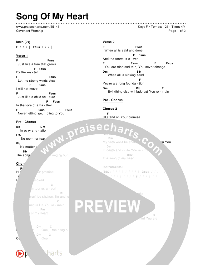 Song Of My Heart Chords Covenant Worship Praisecharts