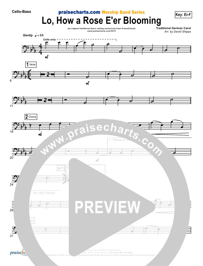 Lo How A Rose Eer Blooming Orchestration Praisecharts