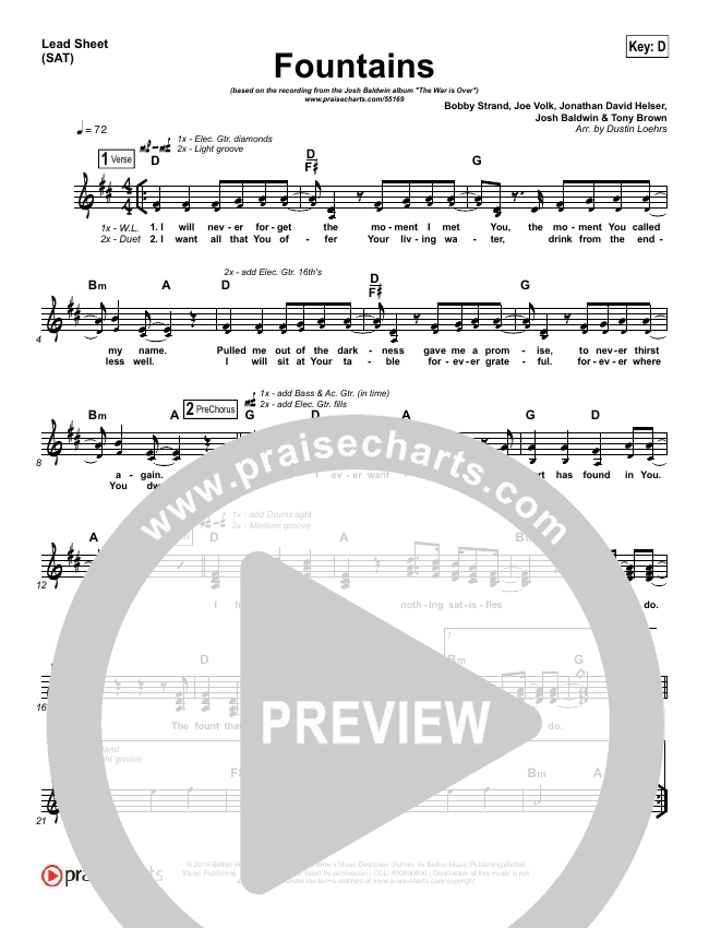 Fountains Lead Sheet (Josh Baldwin)