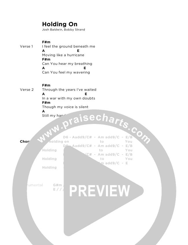 Holding On Chord Chart (Josh Baldwin)