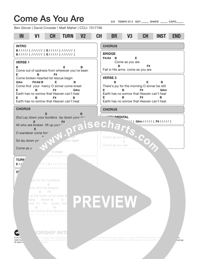Come As You Are Chord Chart (The Worship Initiative)