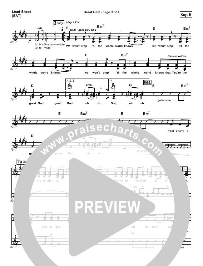 Great God Lead & Piano/Vocal (Jentezen Franklin / Free Chapel)