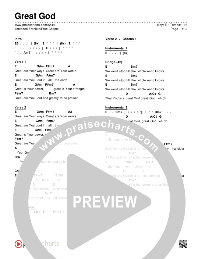 Great God Chords & Lyrics (Jentezen Franklin / Free Chapel)