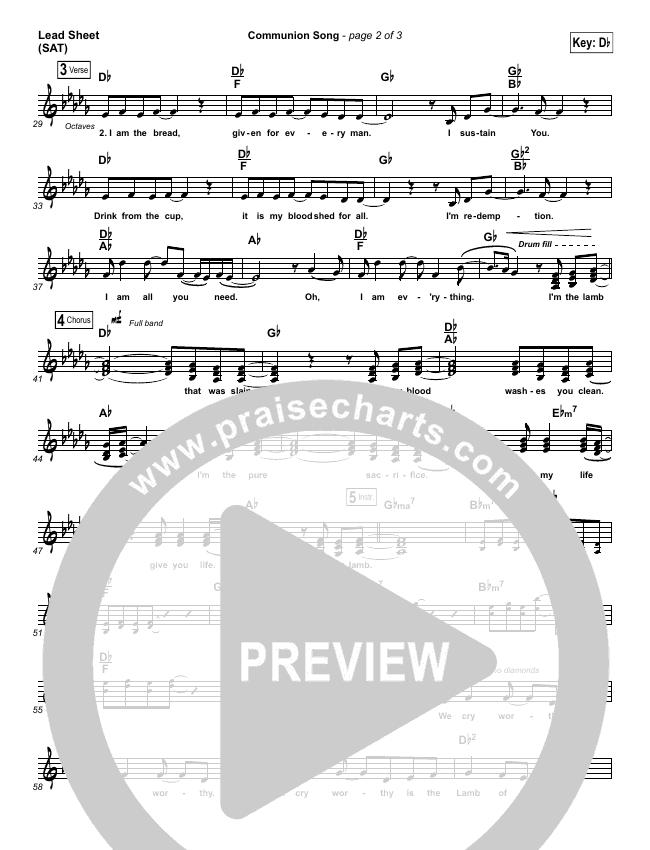 Communion Song Lead Sheet (SAT) (Jonathan Stockstill / Bethany Music / Nicole Binion / BJ Putnam)