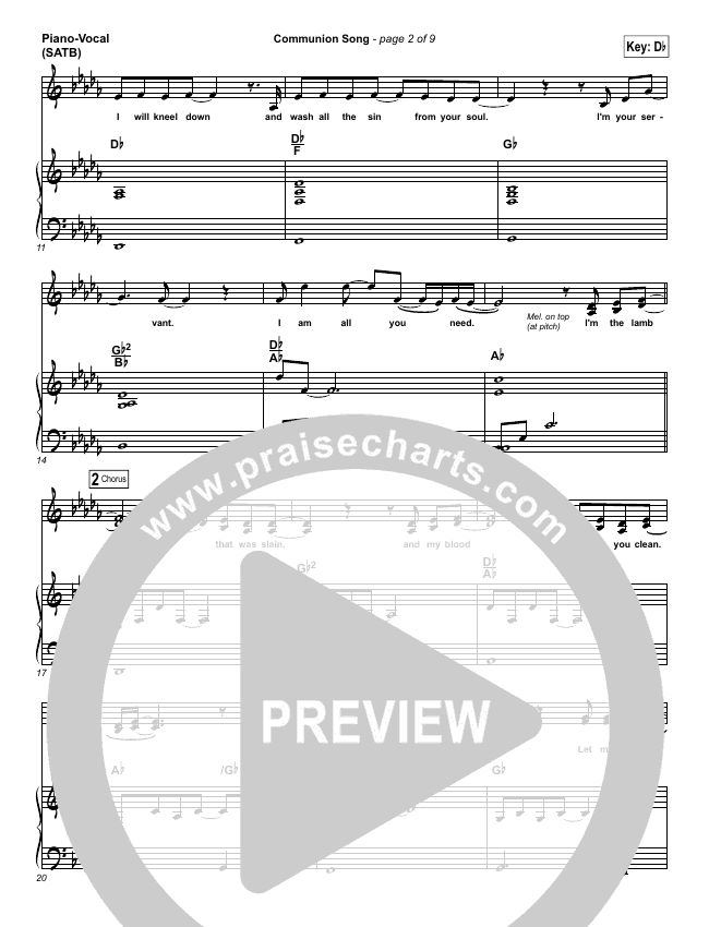 Communion Song Piano/Vocal (SATB) (Jonathan Stockstill / Bethany Music / Nicole Binion / BJ Putnam)