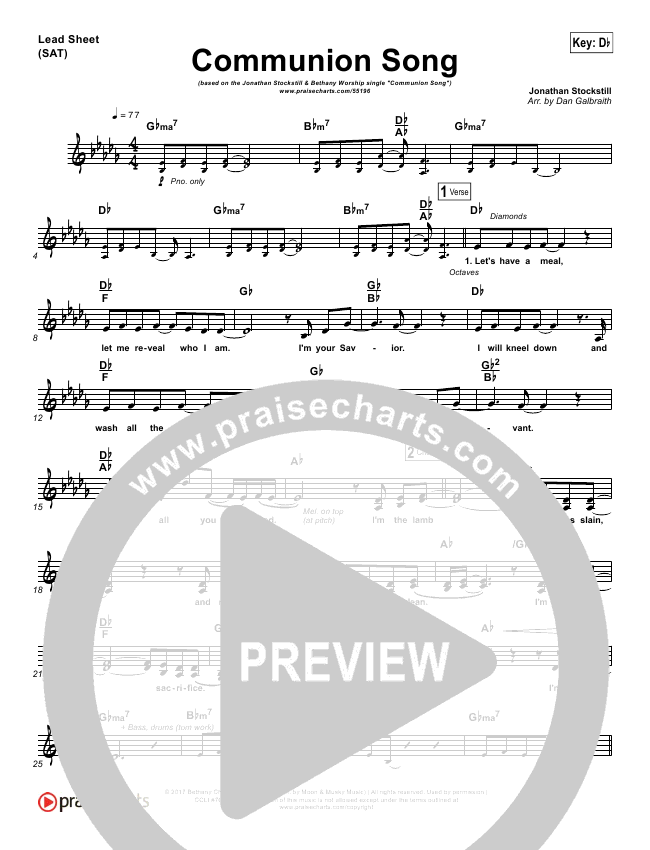 Communion Song Piano/Vocal Pack (Jonathan Stockstill / Bethany Music / Nicole Binion / BJ Putnam)