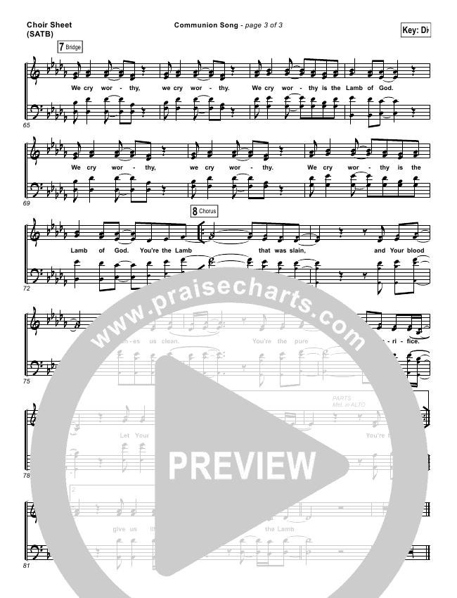 Communion Song Choir Sheet (SATB) (Jonathan Stockstill / Bethany Music / Nicole Binion / BJ Putnam)