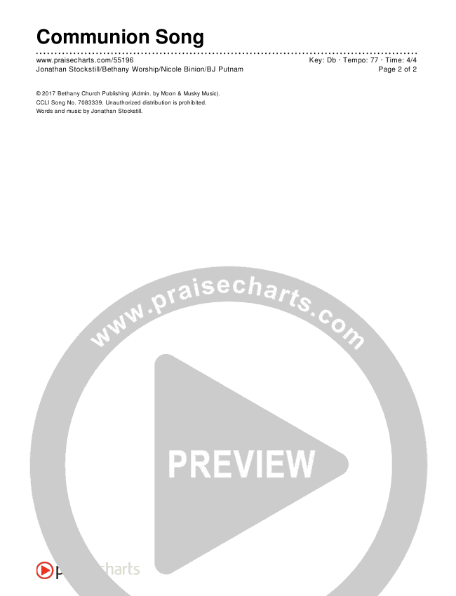 Communion Song Chords & Lyrics (Jonathan Stockstill / Bethany Music / Nicole Binion / BJ Putnam)