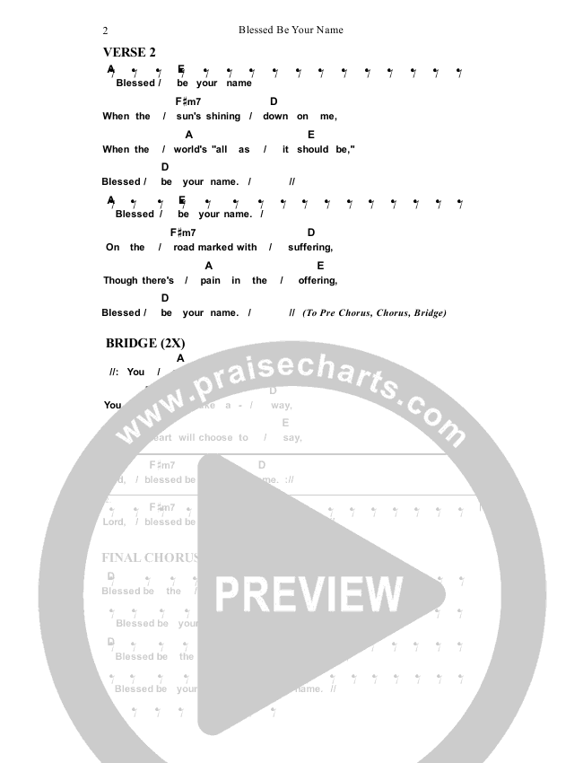Blessed Be Your Name Chord Chart (Dennis Prince / Nolene Prince)