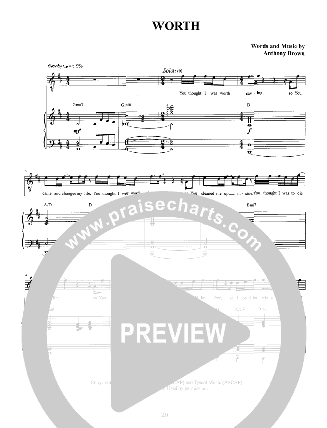 Worth Piano/Vocal (Anthony Brown)