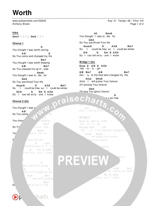 Worth Chords Anthony Brown Praisecharts