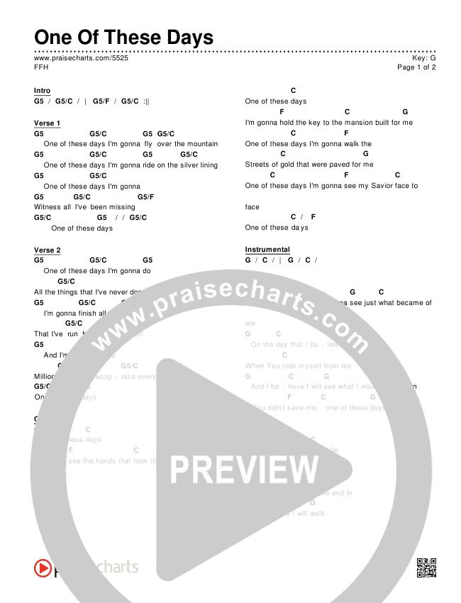 One Of These Days Chords & Lyrics (FFH)