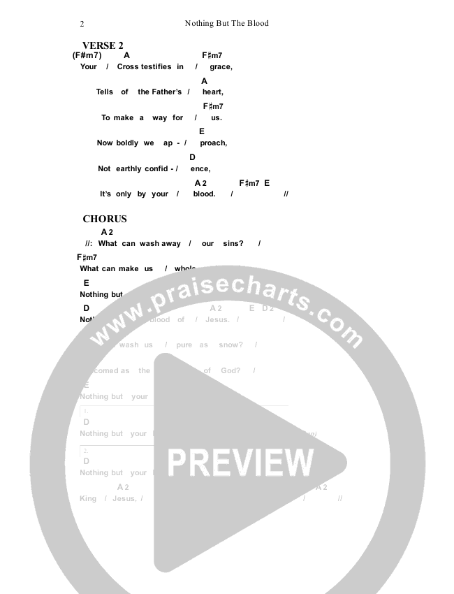 Nothing But The Blood Chord Chart (Dennis Prince / Nolene Prince)