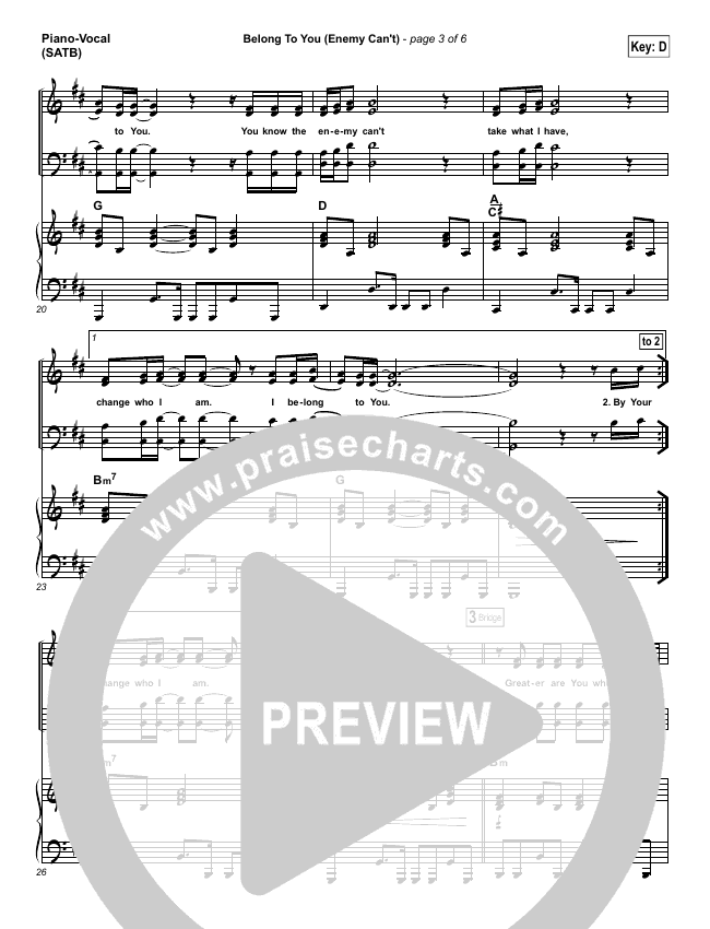 Belong To You (Enemy Can't) Piano/Vocal (SATB) (Iron Bell Music)
