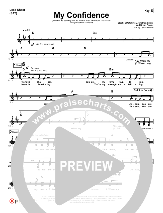 My Confidence Lead Sheet (SAT) (Iron Bell Music)