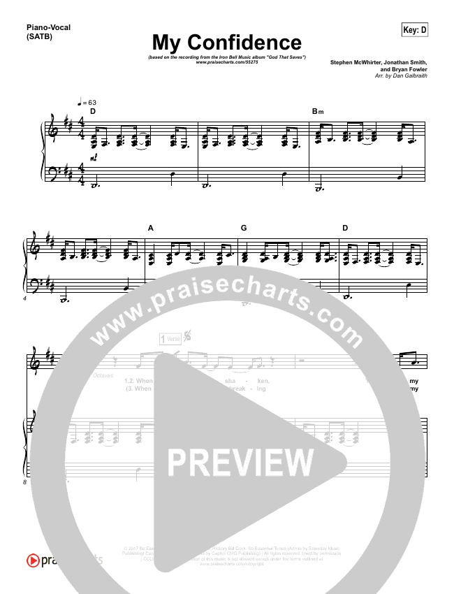 My Confidence Piano/Vocal (SATB) (Iron Bell Music)