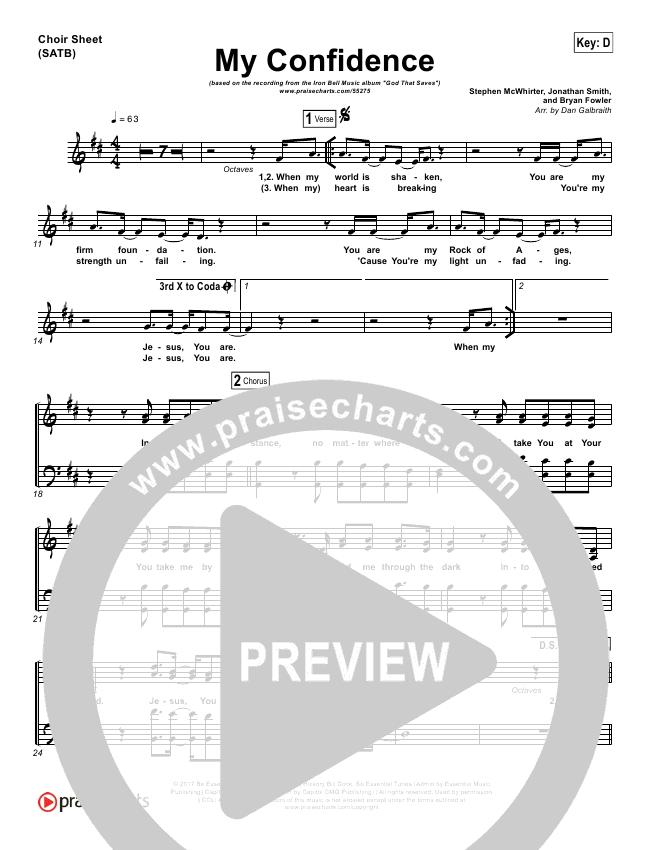 My Confidence Choir Sheet (SATB) (Iron Bell Music)