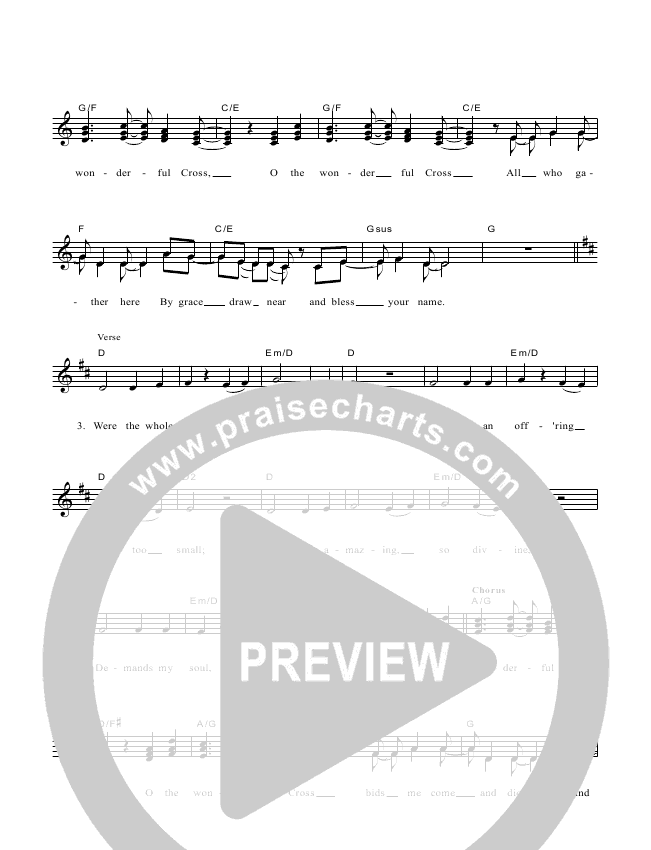 The Wonderful Cross Lead & Piano/Vocal (Dennis Prince / Nolene Prince)