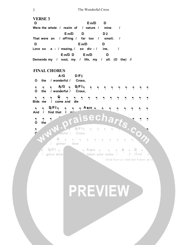 The Wonderful Cross Chord Chart (Dennis Prince / Nolene Prince)