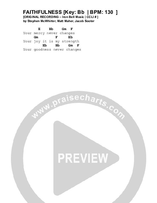 Faithfulness Chord Chart (Iron Bell Music)