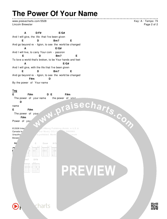 The Power Of Your Name Chords & Lyrics (Lincoln Brewster)