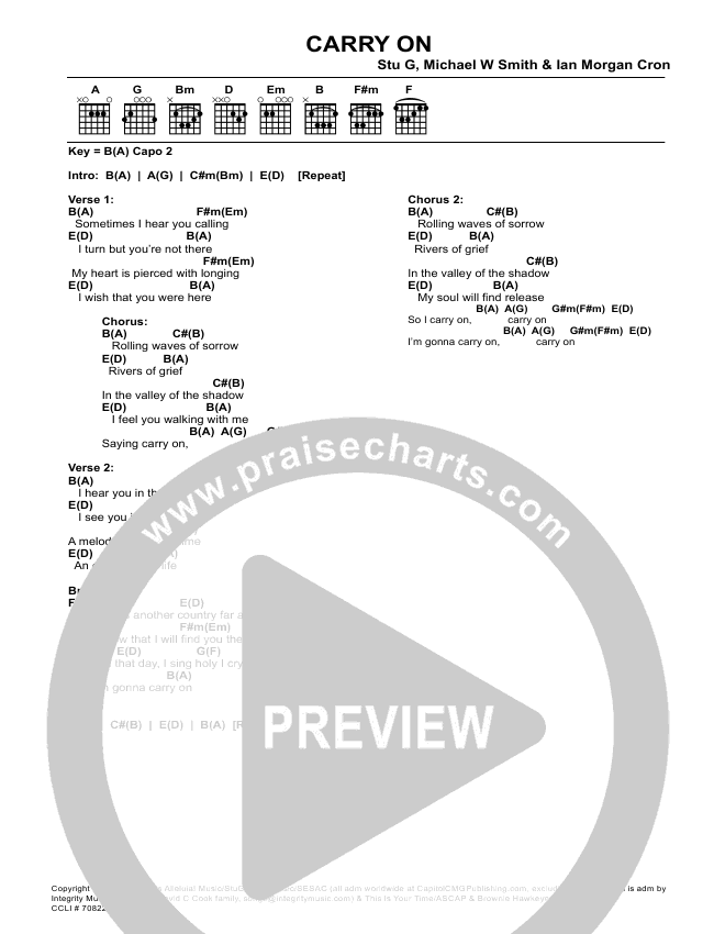 Carry On Chords Stu Garrard Michael W Smith Praisecharts