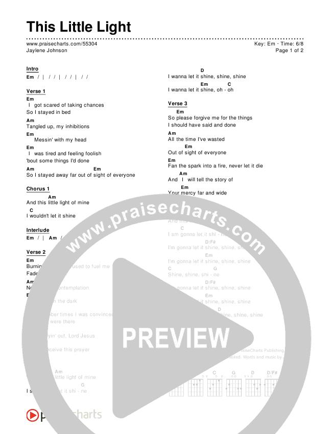 This Little Light Chord Chart (Jaylene Johnson)