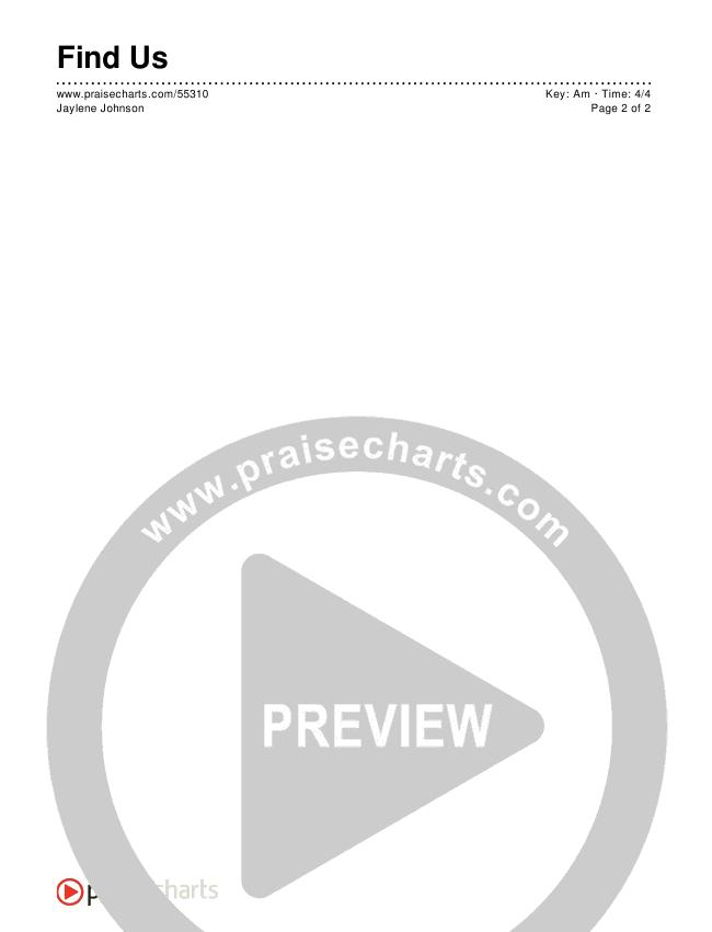 Find Us Chord Chart (Jaylene Johnson)