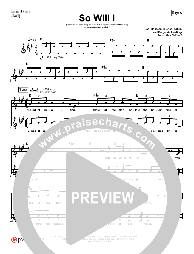 So Will I (100 Billion X) Lead & Piano/Vocal (Hillsong UNITED)