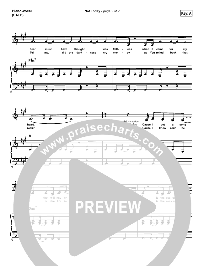 Not Today Piano/Vocal (SATB) (Hillsong UNITED)