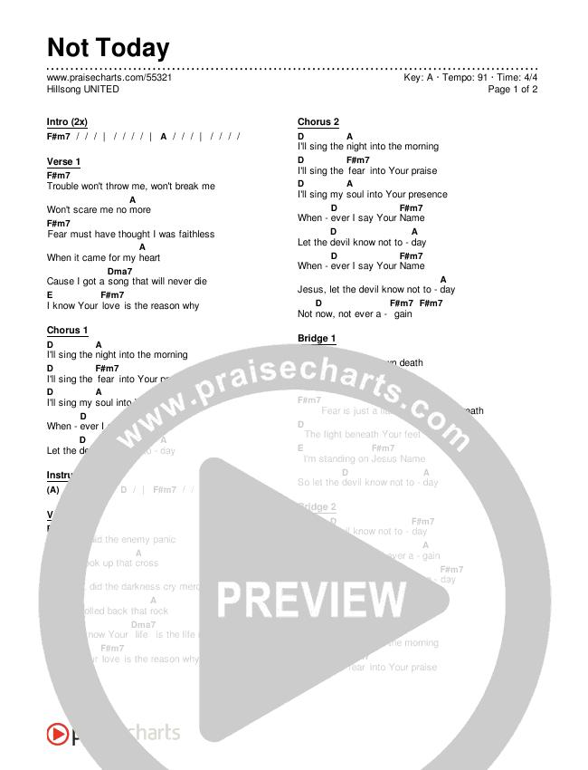 Not Today Chords & Lyrics (Hillsong UNITED)