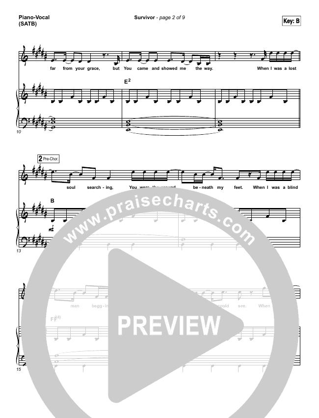 Survivor Piano/Vocal (SATB) (Zach Williams)