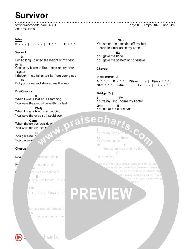 Survivor Chords & Lyrics (Zach Williams)