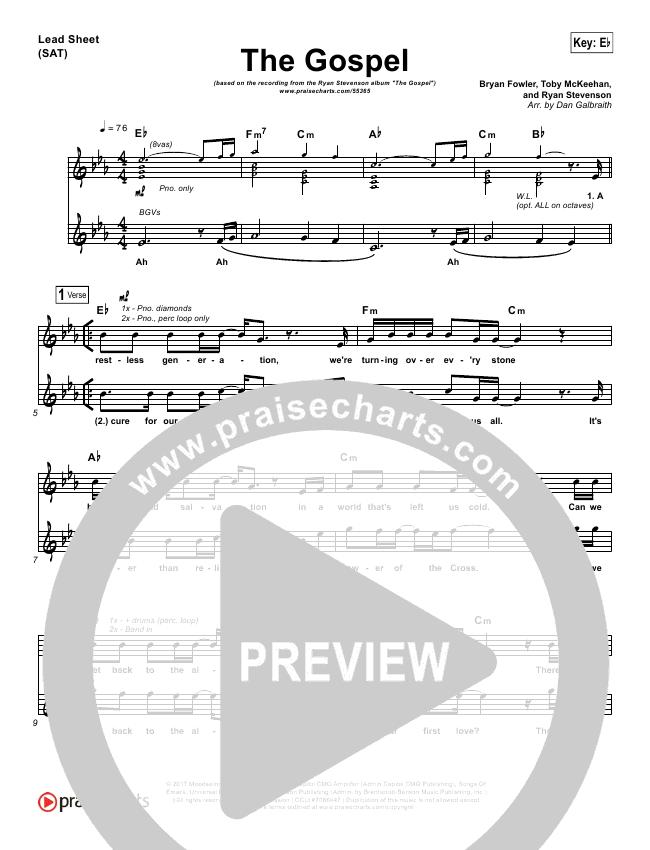 The Gospel Lead Sheet & Piano/Vocal - Ryan Stevenson | PraiseCharts