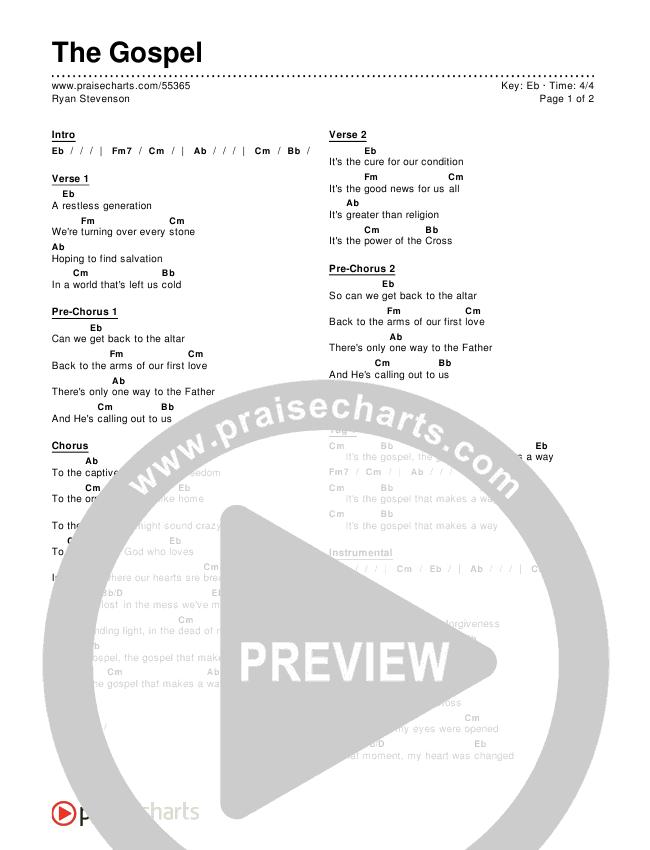 The Gospel Chords Ryan Stevenson Praisecharts
