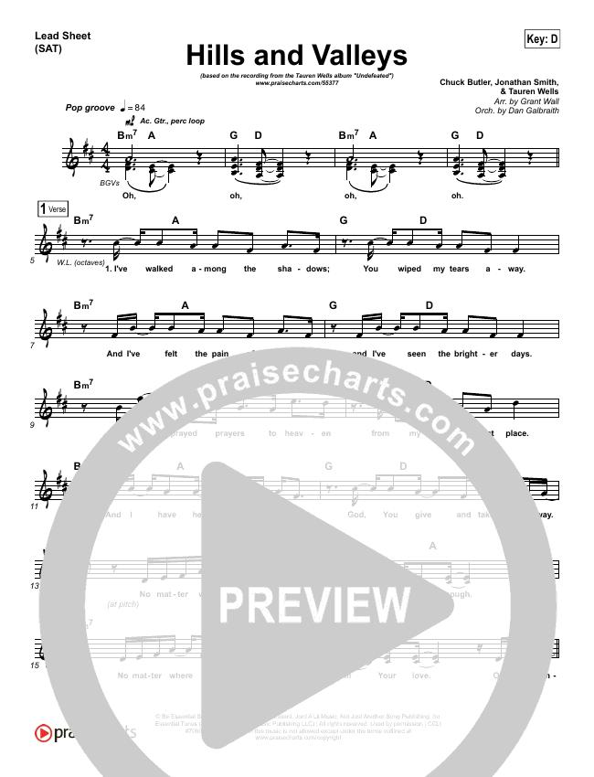 Hills And Valleys Lead Sheet (SAT) (Tauren Wells)
