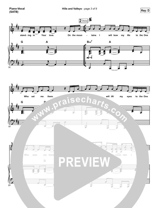Hills And Valleys Piano/Vocal (SATB) (Tauren Wells)