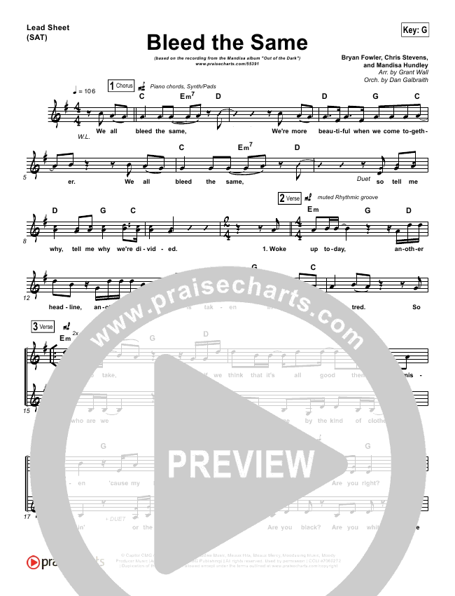 Bleed The Same Lead Sheet & Piano/Vocal - Mandisa | PraiseCharts