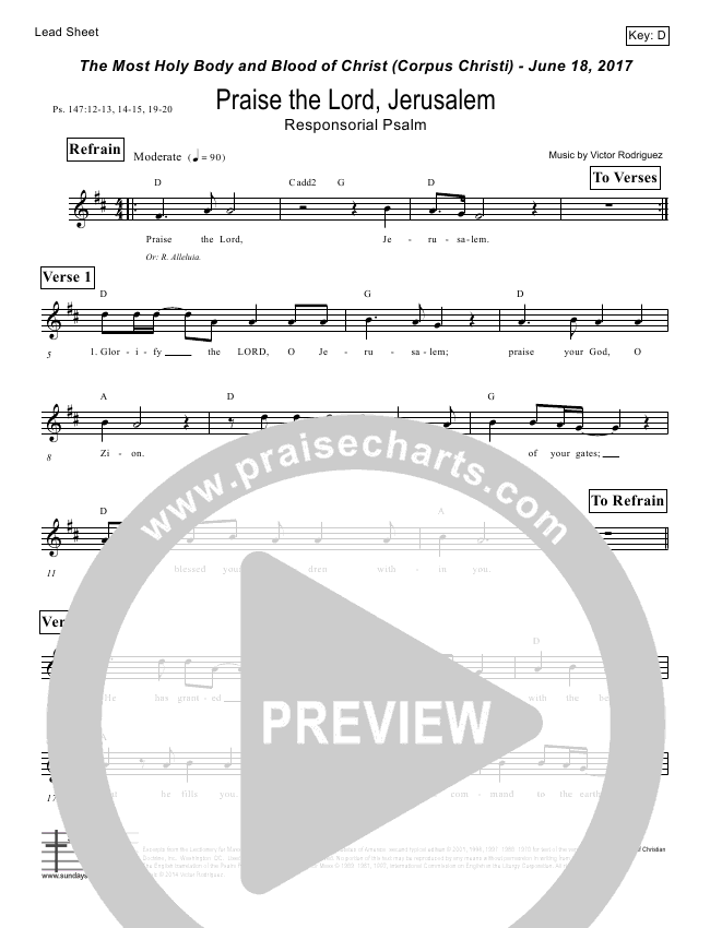 Praise The Lord Jerusalem (Psalm 147) Lead Sheet (Victor Rodriguez)