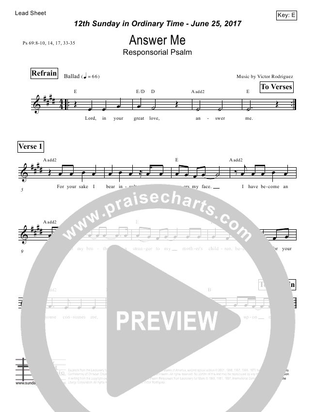 Answer Me (Psalm 69) Lead Sheet (Victor Rodriguez)