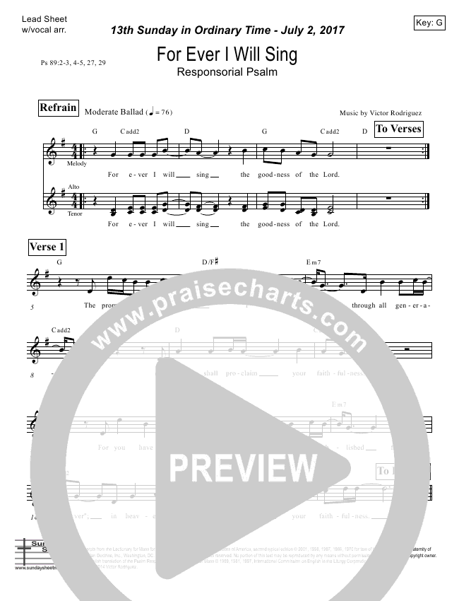 For Ever I Will Sing (Psalm 89) Lead Sheet (Victor Rodriguez)