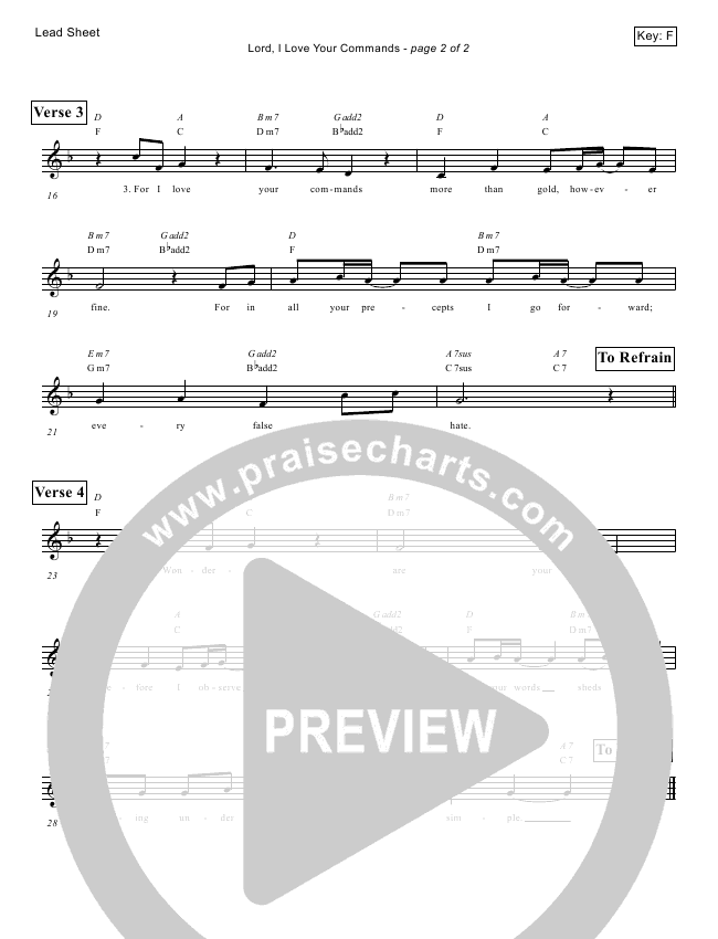 Lord I Love Your Commands (Psalm 119) Lead Sheet (Victor Rodriguez)