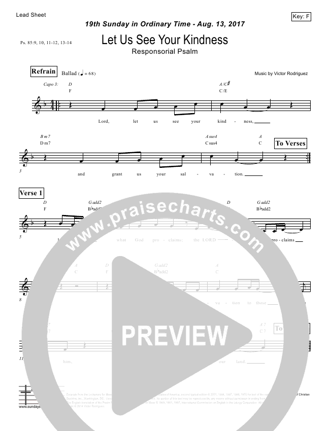 Let Us See Your Kindness (Psalm 85) Lead Sheet (Victor Rodriguez)