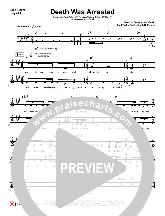 Death Was Arrested Lead Sheet (Melody) (North Point Worship / Seth Condrey)