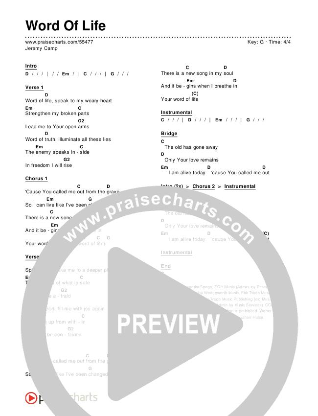 Word Of Life Chords & Lyrics (Jeremy Camp)