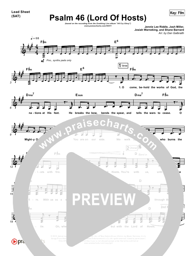 Psalm 46 Lord Of Hosts Lead Sheet Pianovocal Onething Live