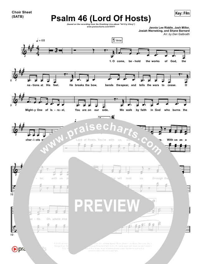 Psalm 46 (Lord Of Hosts) Choir Sheet (SATB) - Onething Live