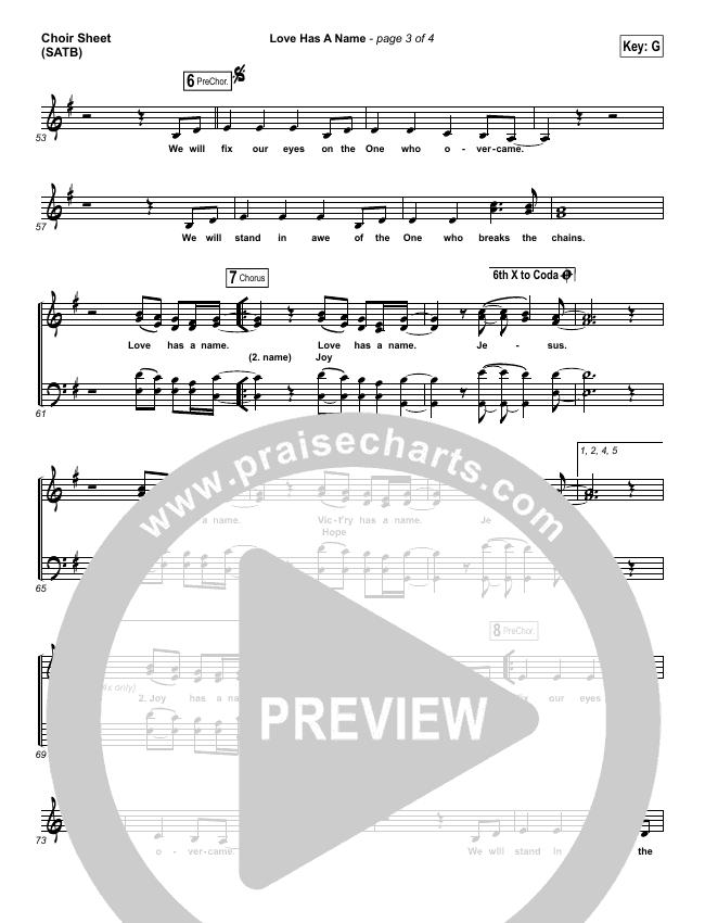 Love Has A Name Choir Sheet (SATB) (Jesus Culture / Kim Walker-Smith)
